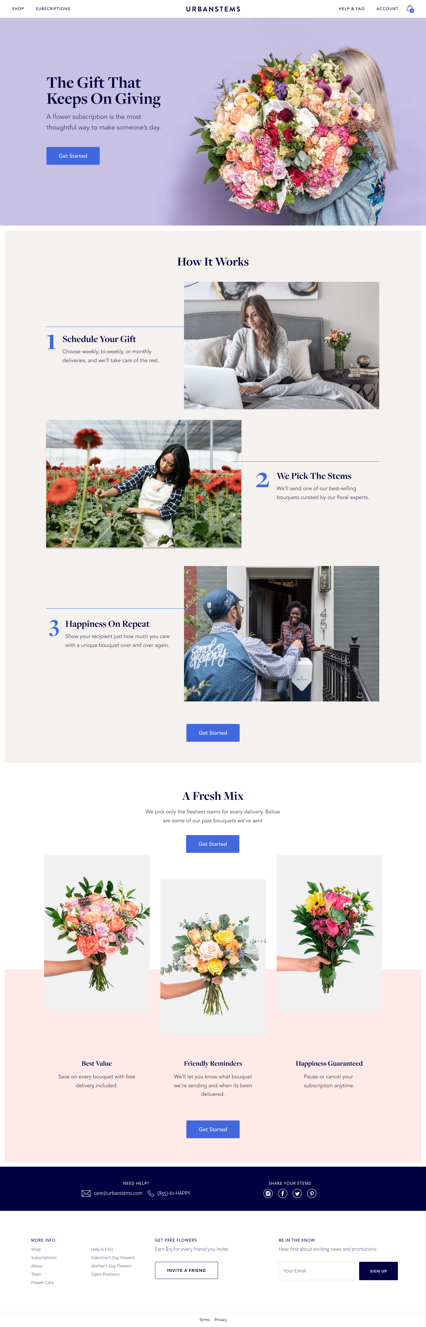 Subscriptions landing page version 2