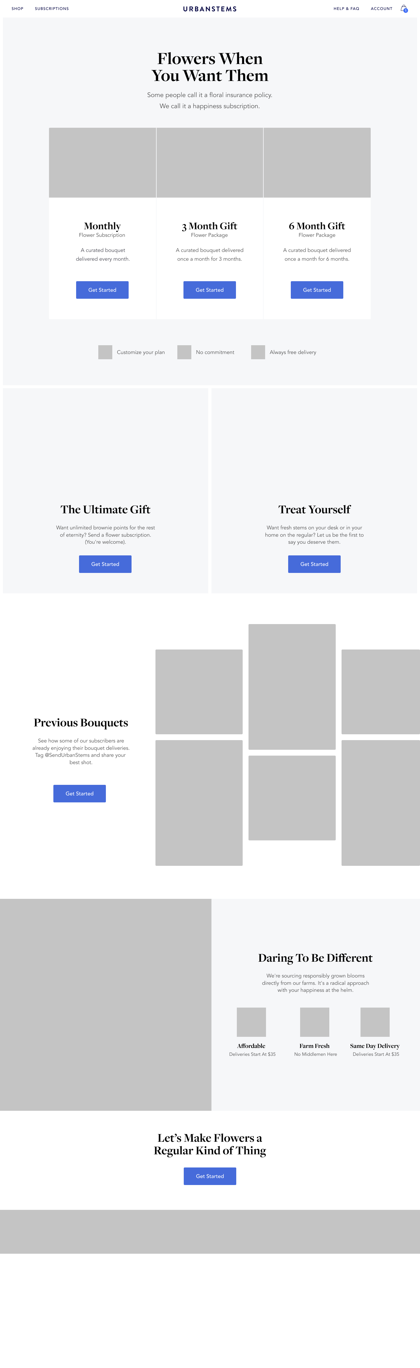 Subscriptions wireframe